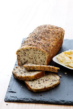 Here's a good low-carb bread option, baked with almond and coconut flour. It's compact and very satisfying. One or two slices with plenty of toppings will go a long way.