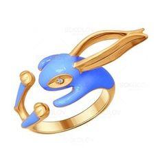 Разъемное кольцо в виде кролика с позолотой и эмалью