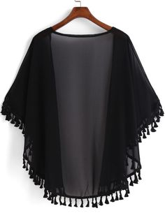 SheIn offers Black Casual Tassel L Black Casual Tassel Loose Kimono online. SheIn offers Black Casual Tassel L Black Casual Tassel Loose Kimono -SheIn(Sheinside) Lace Dress - Blue-gray - Girls Fashion Clothes, Teen Fashion Outfits, Trendy Outfits, Fashion Dresses, Clothes For Women, Stylish Dress Designs, Designs For Dresses, Stylish Dresses, Kimono Outfit