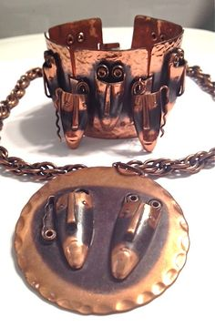 REBAJES Tribal Copper Jewelry Set Modernist by WhirleyShirley, $250.00