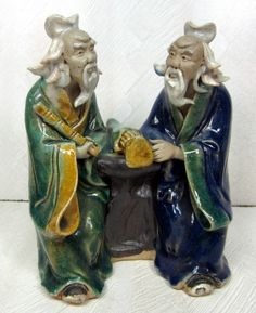 Vintage Chinese Mud Man Scholar Men Philosopher Pair China Pottery Clay