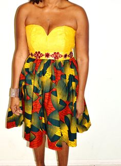 Strapless Yellow and Ankara Print  Dress With A by ZabbaDesigns, $70.00