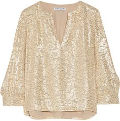 Elizabeth and James - Shelley Metallic Fil Coupe Silk-blend Blouse - Beige