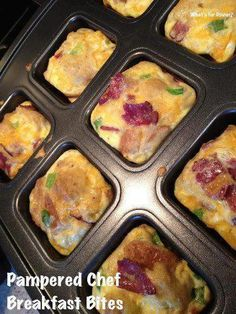 Breakfast Bites 5-6 strips of turkey bacon (or crumbles) 5 eggs 3/4 cup cheddar cheese, shredded 2 slices of bread, cubed 1/3 bell pepper, diced 2 green onions, diced 2 tbsp milk. Divide mixture into wells of the Pampered Chef brownie pan filling 2/3 full. Bake at 350 degrees for 17-20 minutes.