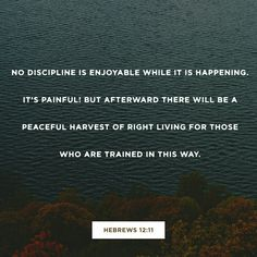 No discipline is enjoyable while it is happening—it's painful! But afterward there will be a peaceful harvest of right living for those who are trained in this way. Hebrews 12 NLT http://bible.com/116/heb.12.11.NLT