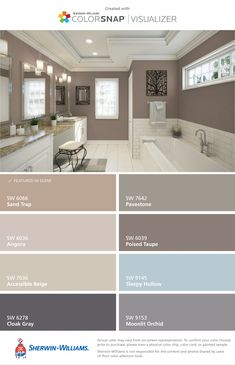 Bathroom remodel paint color palettes subway tiles ideas for 2019 Paint Colors For Home, Interior, Painting Bathroom, House Colors, Interior Paint Colors Schemes, Paint Colors For Living Room, Paint Color Palettes, Poised Taupe, Colorful Interiors