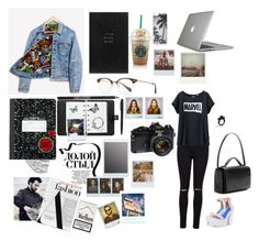 """""""Marvel inspired casual look"""" by leilaloll ❤ liked on Polyvore featuring Miss Selfridge, Uniqlo, Jeffrey Campbell, Oliver Peoples, Mulberry, The Row, Smythson, Runwaydreamz, Zero Gravity and Speck"""
