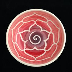 Red Lotus Porcelain Bowl on Etsy, $15.00