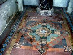 Mosaic floor inside a family mausoleum at Mt. Olivet Cemetery Nashville TN
