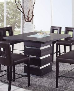 Contemporary Counter Height Black Dining Table Chairs Dining Room ...