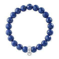 Thomas Sabo Blue Beveled Beaded Charm Bracelet