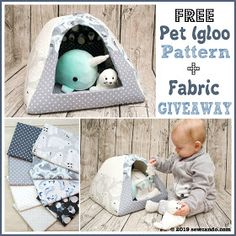 Sewing Animals Projects Sew Can Do: FREE Pattern Pet House Igloo Polar Opposites Fabric Giveaway! Sewing Patterns Free, Sewing Tutorials, Free Pattern, Sewing Ideas, Sewing Projects, Diy Projects, Dog Igloo, Bunny Beds, Cat House Diy