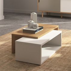 This architectural inspired coffee table with a beautiful mix of colors will bring a new designer vibe to your living space. The table comes with honeycomb frame in matte white & natural oak veneer finish. Dimensions: 13 Height x 35 Width x 18 Depth Coffee And End Tables, Coffe Table, Modern Coffee Tables, Centre Table Living Room, Center Table, Coffee Table Expandable, Tea Table Design, Home Furniture, Furniture Design