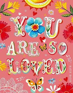 Dress up a bare wall with the Floral You Are So Loved Canvas Wall Art from Oopsy Daisy. Canvas wall art is perfect for adding color and style to bedrooms, playrooms, nurseries and even bathrooms! Nursery Wall Art, Canvas Wall Art, Nursery Decor, Mundo Hippie, Daisy Art, Illustration Noel, Garden Illustration, Watercolor Quote, Kids Wall Decals