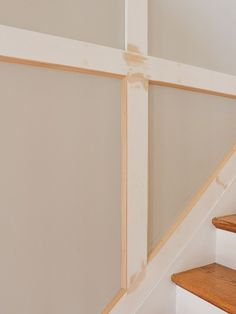 I got a nail gun for Christmas and put it to work right away by adding molding to my entryway and stairway. Wall Trim Molding, Staircase Molding, Moldings And Trim, Diy Molding, Staircase Design, Stair Paneling, Staircase Runner, Staircase Ideas, Panelling