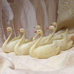 vintage glitter swan cups