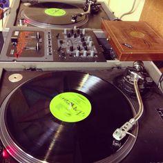 Double Kranky vinyls and Oluto The Dee Jay's set up.  www.randomran.com