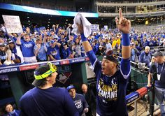 Oct 15, 2014; Kansas City, MO, USA; Kansas City Royals catcher Salvador Perez celebrates after game four of the 2014 ALCS playoff baseball game against the Baltimore Orioles at Kauffman Stadium. The Royals swept the Orioles to advance to the World Series. (Peter G. Aiken-USA TODAY Sports)