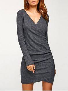 GET $50 NOW | Join RoseGal: Get YOUR $50 NOW!http://www.rosegal.com/casual-dresses/fall-v-neck-ruched-dress-829422.html?seid=7329543rg829422