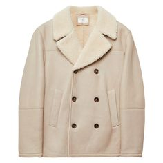 GANT Diamond G: Cream/white Shearling Peacoat Men's | GANT USA Store