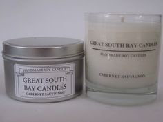 NEW ARRIVALS!!! CABERNET SAUVIGNON The aroma of red wine grapes. Available in 7.5oz. Glass Tumblers & Travel Tins. www.greatsouthbaycandles.com