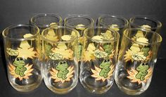 Vintage Drinking Glasses, Neil The Frog, Tall, Tumbler Glasses, Frog Decor, Water Glass,  Frog Glasses, Set of Eight, Sears Roebuck, 1978 by TheBackShak on Etsy