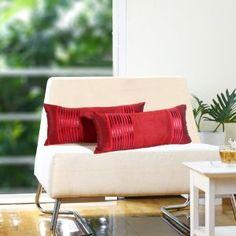 Plush red cushion cover