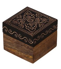 """Bulk Wholesale Handmade 2.5"""" Square Mango-Wood Jewelry Box / Trinket Box in Black & Natural-Wood Color Decorated with Cone-Painting Art of Traditional-Look Motifs – Antique-Look Boxes from India"""