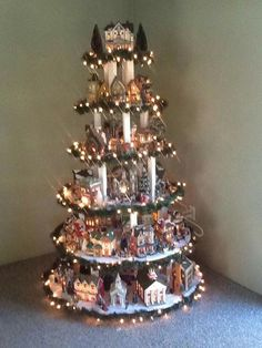 A beautiful way to display your Christmas village.
