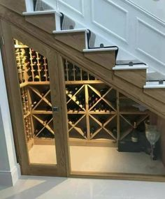 Bespoke wine racking for under stairs wine storage, perfect for any home re-desi., underground Bespoke wine racking for under stairs wine storage, perfect for any home re-desi. Under Stairs Wine Cellar, Home Wine Cellars, Glass Wine Cellar, Small Basements, Finished Basements, Basement Stairs, Basement Ideas, Unfinished Basement Ceiling, Basement Shelving
