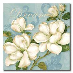 GlA_572_Inspiration Magnolias / Cuadro Flores Balancas sobre fondo Vintage