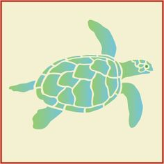 Sea Turtle Stencil -- x -- The Artful Stencil -- 10 mil Mylar, walls, pillows and sign pai Stencil Patterns, Stencil Designs, Drawing Designs, Applique Patterns, Turtle Silhouette, Baby Sea Turtles, Stencil Painting, Stenciling, Paper Gifts