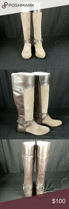 Vince Camuto Boots Sz 6.5 Brown/Tan Gorgeous knee high boots by Vince Camuto. Stunning boots, and very comfortable. True to size. I no longer have the box. EUC, worn 1 X. I have too many pairs of brown boots & starting to think spring! These boots need a great home! Smoke free home! Vince Camuto Shoes