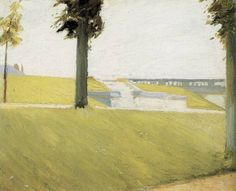 """'Le Parc de Saint Cloud' (1907), Edward Hopper. Hopper made 3 trips to Paris (1906-1910), where he was """"deeply impressed"""" by Manet and Degas; he started experimenting with close cropping, strong diagonals and unusual perspectives with emphasis on the effects of light."""