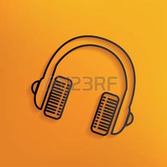 Earphone design on yellow background,clean vector photo