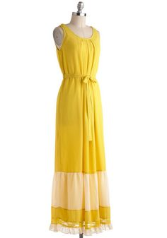 { Bold Yellow maxi dress! }Lovely Lacewing Dress, #ModCloth