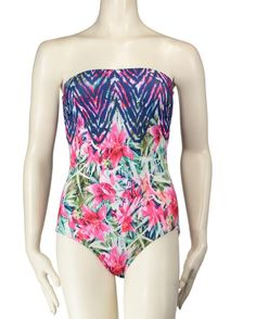 b162fcbeae Nadia Floral One Piece Bandeau Swimsuit