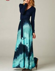 IT'S A WRAP Navy/Turquoise Tiedye Floor-length Maxi Dress CHELSEA VERDE