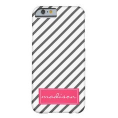 Modern Gray and Pink Striped Personalized Name Barely There iPhone 6 Case