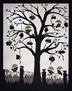 Tea Party - Cut paper art by ruralpearl, via Flickr