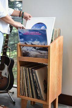 the tretina unit - dowel series Record Crate, Record Shelf, Vinyl Record Storage, Lp Storage, Tv Stand Console, Gothic Furniture, Audio Room, Pallet Tv, Wood Vinyl