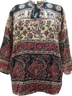 Indi Brown Tunic Red Floral Print Cotton Top Boho Chic Large