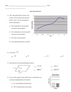 Mid Year Review ~ Math / Pre-Algebra:  Solving Equations, Probability, Counting Principle, Exponents, Scale Drawings, Square Roots, Area of Parallelograms & Trapezoids, & Misleading Graphs are all on this 5-page mid year review (including answer key).