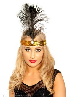 1920's Flapper Headband in Black with Gold - Halloween Costumes | fancy dress costumes Australia | wigs, masquerade masks | online shop $12