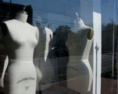 Still life photography - gray, tan, black, mannequins, shop window, sewing, reflections, fine art photograph - Dress Forms