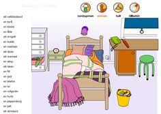 Swedish vocabulary - bedroom - svenska ord - sovrum 1