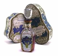 "120: 1907 Piver ""Azurea"" Perfume Bottle - Powder Box : Lot 120"