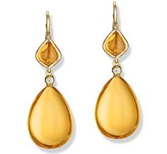 Jane Taylor Jewelry Color Candy Double drop earrings with honey quartz seeds, citrine onion cabochons, and diamond accents, 18K or 14K yellow gold