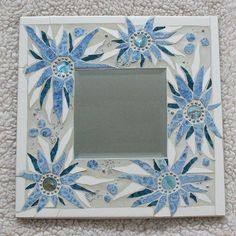 Mosaic Mirror Blue Flowers
