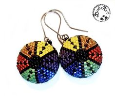 #DotArt, #earrings, #beading, #peyote, #rainbow, polandhandmade.pl